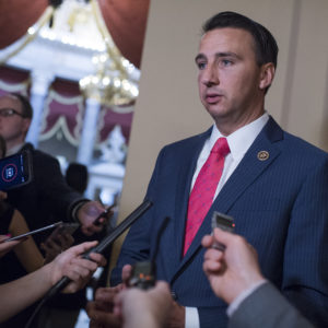 UNITED STATES - JUNE 14: Rep. Ryan Costello, R-Pa., who missed practice this morning, talks with the media in the Capitol after a shooting at the Republican's baseball practice in Alexandria on June 14, 2017. (Photo By Tom Williams/CQ Roll Call)