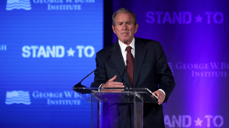 WASHINGTON, DC - JUNE 23:  Former U.S. President George W. Bush speaks during a conference at the U.S. Chamber of Commerce June 23, 2017 in Washington, DC. The George W. Bush Institute hosted a conference to address veteran issues.  (Photo by Alex Wong/Getty Images)