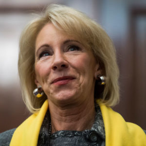 "UNITED STATES - JANUARY 18: Education Secretary Betsy DeVos attends a rally to promote the importance of school choice as part of ""National School Choice Week,"" in Russell Building on January 18, 2018. (Photo By Tom Williams/CQ Roll Call)"