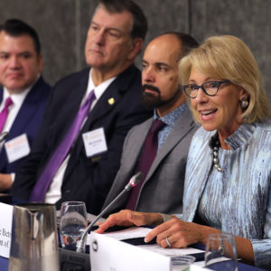 U.S. Education Secretary Betsy DeVos addresses the U.S. Conference of Mayors 86th annual Winter Meeting at the Capitol Hilton January 25, 2018 in Washington, DC. The non-partisan conference of mayors from cities with populations of 300,000 or larger meet annually in Washington, DC.
