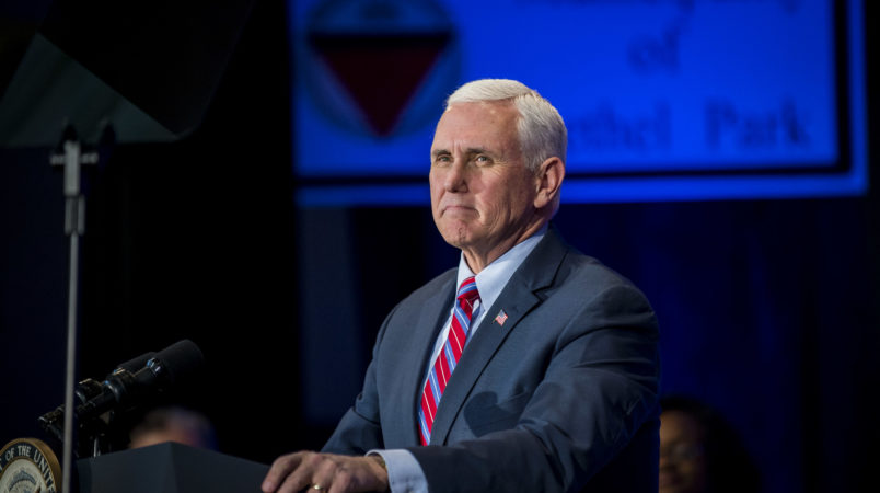 BETHEL PARK, PA - FEBRUARY 02: Vice President Mike Pence speaks during a campaign event for Republican Pennsylvania congressional candidate Rick Saccone, at the Bethel Park Community Center  on February 2, 2018 in Bethel Park, Pennsylvania. (Photo by Pete Marovich/Getty Images)