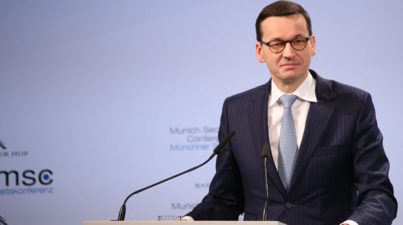 The polish prime minister Mateusz Morawiecki spoke at the Munich Security Conference. The MSC is held at the hotel Bayerischer Hof from February 16th to Februay 18th. (Photo by Alexander Pohl/NurPhoto)