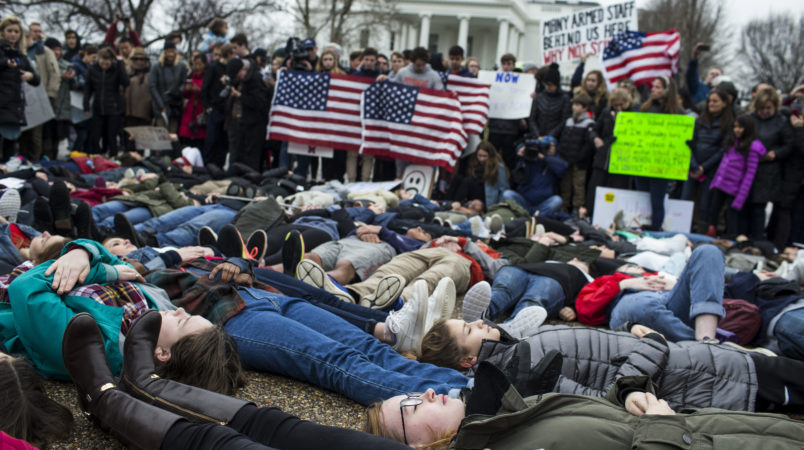 United States students stage protests to demand gun control after mass shooting