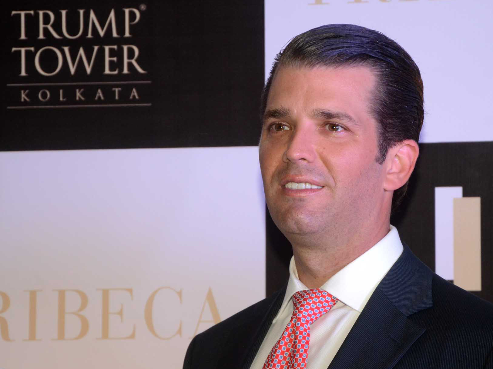 Donald Trump Jr at photo session after visit  Trump Tower, a luxury apartment building, ahead of the visit of Donald Trump Jr on February 21,2018 in Kolkata,India. (Photo by Debajyoti Chakraborty/NurPhoto)
