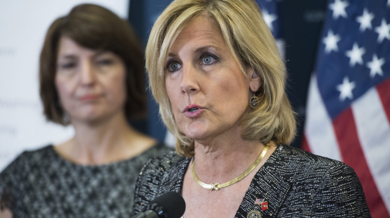 UNITED STATES - JULY 25: Rep. Claudia Tenney, R-N.Y., speaks during a news conference after a meeting of the House Republican conference in the Capitol on July 25, 2017. Cathy McMorris Rodgers, R-Wash., appears at left. (Photo By Tom Williams/CQ Roll Call)