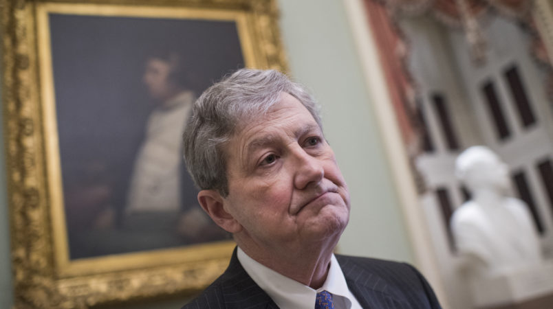 UNITED STATES - JANUARY 23: Sen. John Kennedy, R-La., talks with reporters after Senate Policy luncheons in the Capitol on January 23, 2018. (Photo By Tom Williams/CQ Roll Call)
