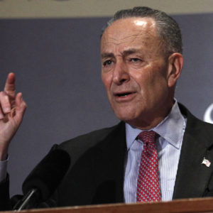 LOUISVILLE, KY-FEBRUARY 12: U.S. Senate Democratic Leader Chuck Schumer (D-NY), speaks at the University of Louisville's McConnell Center February 12, 2018 in Louisville, Kentucky. Schumer, who was introduced at the event by U.S. Senate Majority Leader Mitch McConnell (R-KY), was there as part of the Center's Distinguished Speaker Series. (Bill Pugliano/Getty Images)