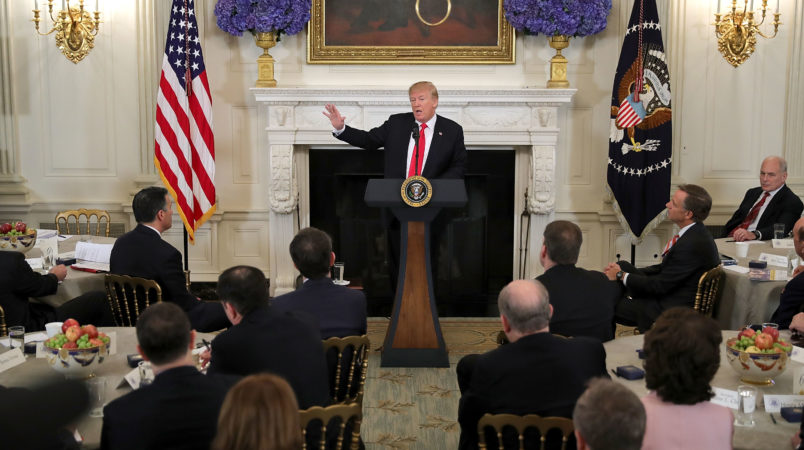 U.S. President Donald Trump hosts a business session with state governors in the State Dining Room at the White House February 26, 2018 in Washington, DC. The National Governors Association is holding its annual winter meeting this week in Washington.