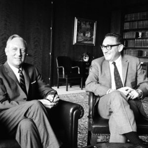 Subject: White House adviser Henry Kissinger with unidentified man. Washington D.C. 1969Photographer- Alfred EisenstaedtTime Inc OwnedMerlin-1153700