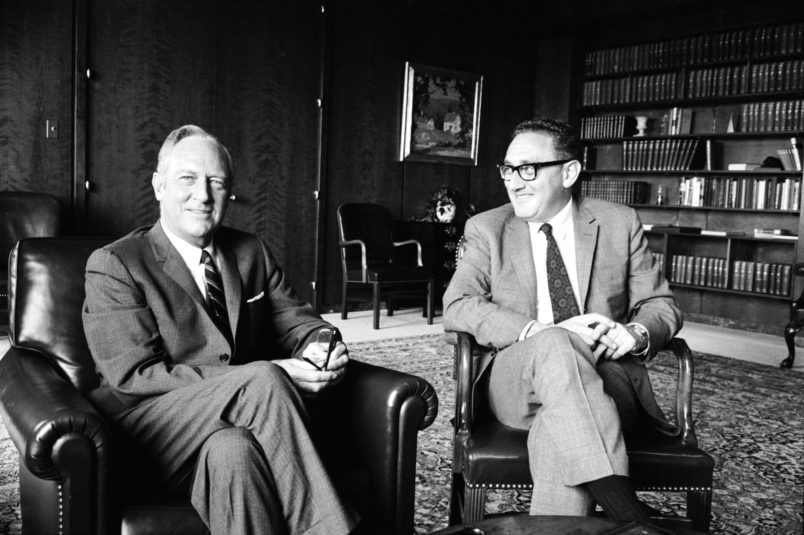 Subject: White House adviser Henry Kissinger with unidentified man. Washington D.C. 1969Photographer- Alfred EisenstaedtTime Inc OwnedMerlin-1153700