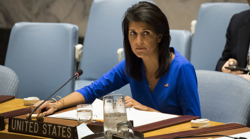 NEW YORK, NY - APRIL 5: U.S. Ambassador to the United Nations Nikki Haley chairs a meeting of the United Nations Security Council at U.N. headquarters, April 5, 2017 in New York City. The Security Council is holding emergency talks on Wednesday following the worst chemical attacks in years in Syria. (Photo by Drew Angerer/Getty Images)
