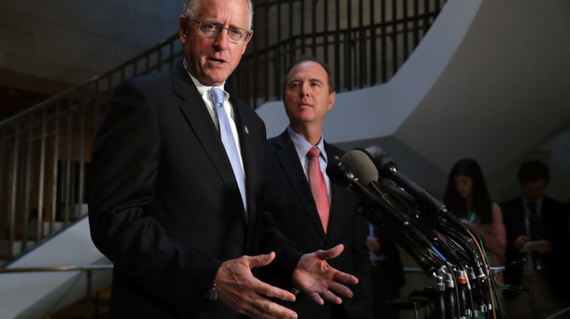 House Intelligence Committee ranking member Rep. Adam Schiff (D-CA) and Rep. Mike Conaway (R-TX), who together are leading the committee's investigation into Russian interference in the 2016 presidential election, hold a news conference at the U.S. Capitol June 6, 2017 in Washington, DC.