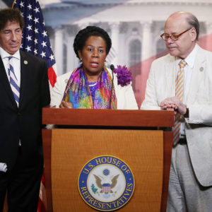 WASHINGTON, DC - JULY 27:  House Judiciary Committee ranking member Sheila Jackson Lee (D-TX) speaks while flanked by Rep. Jamie Raskin (D-MD) (L) and Rep. Steve Cohen (D-TN) during a news conference on Capitol Hill, July 27, 2017 in Washington, DC. House Judiciary committee democrats introduced the H.RES.474 Jackson Lee Lee resolution which condemns any action by the president to fire Special Counsel Robert Mueller, or abusing the presidential pardon powers.  (Photo by Mark Wilson/Getty Images)