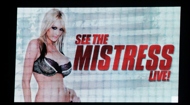 A sign at Little Darlings Las Vegas advertises an upcoming performance at the strip club by adult film actress/director Stormy Daniels on January 25, 2018 in Las Vegas, Nevada. Daniels, whose real name is Stephanie Clifford, was allegedly paid USD 130,000 by an attorney for Donald Trump one month before the 2016 presidential election to keep her from talking about an alleged sexual encounter with Trump in 2006.