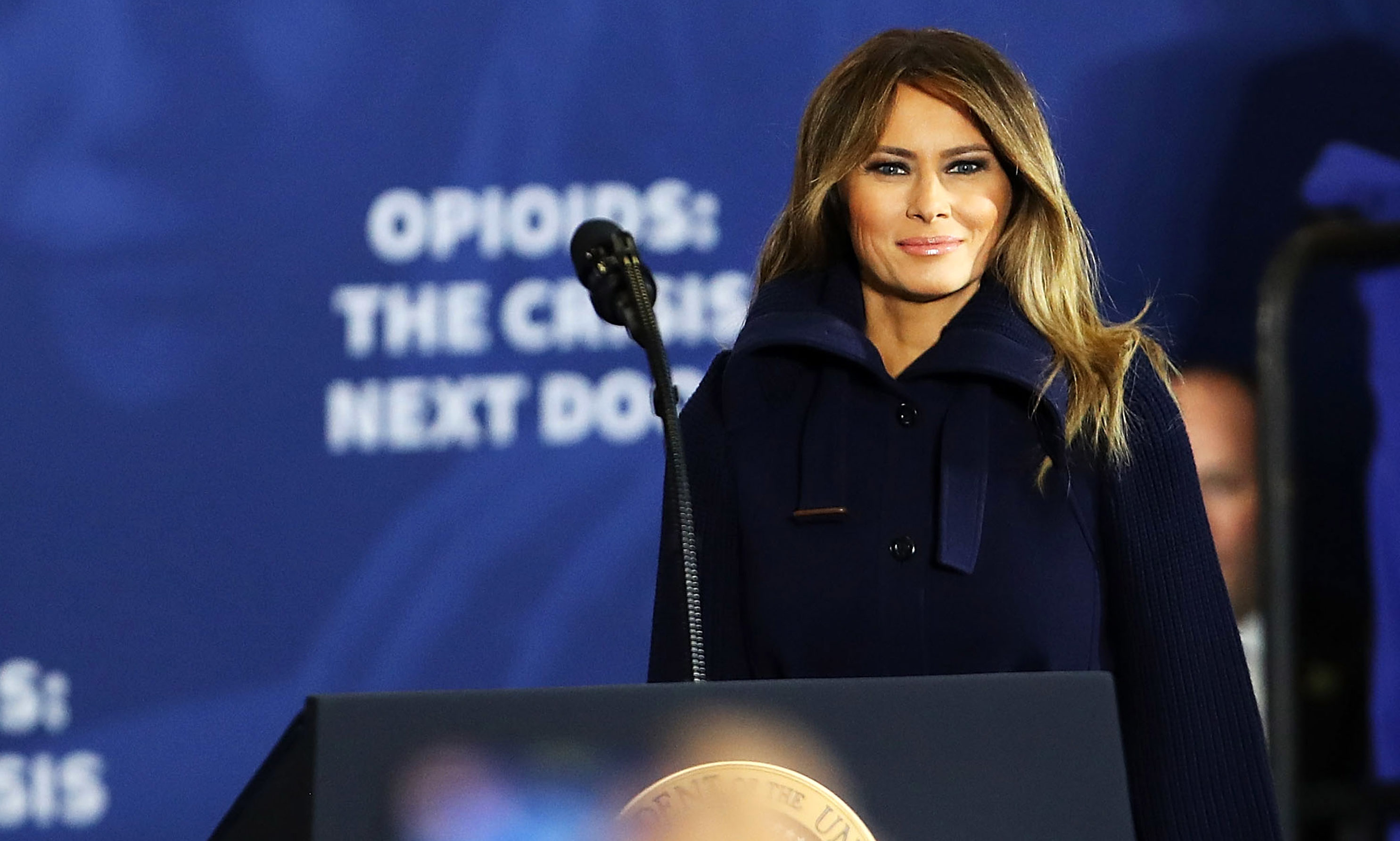 MANCHESTER, NH - MARCH 19: First lady Melania Trump walks onto stage to introduce her husband and to speak about opioids at an event at Manchester Community College on March 19, 2018 in Manchester, New Hampshire. The president addressed the ongoing opioid crisis which has had a devastating impact on cities and counties across the nation. In Manchester overdoses through early March were up 23 percent from this time last year.Trump was also joined his Attorney General Jeff Sessions  (Photo by Spencer Platt/Getty Images)