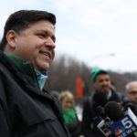 J.B. Pritzker, Democratic candidate for Illinois governor, takes questions from the press before the start of St. Patrick's Day Parade on Saturday, March 17, 2018 in Chicago, Ill. (Abel Uribe/Chicago Tribune/TNS)
