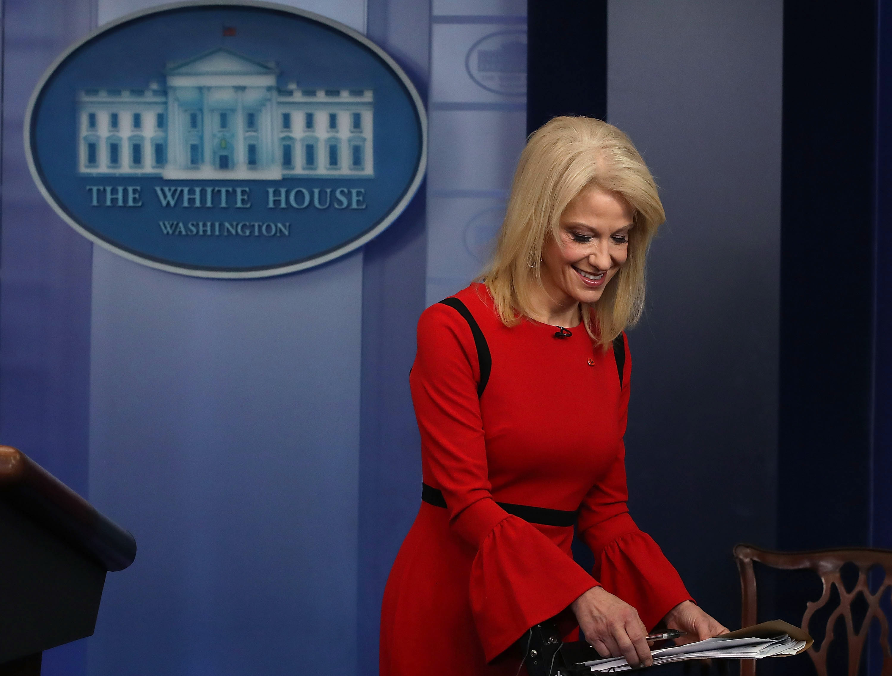 WASHINGTON, DC - MARCH 23:  White House counselor Kellyanne Conway finishes an interview with CNN, in the briefing Room at the White House on March 23, 2018 in Washington, DC.  (Photo by Mark Wilson/Getty Images)