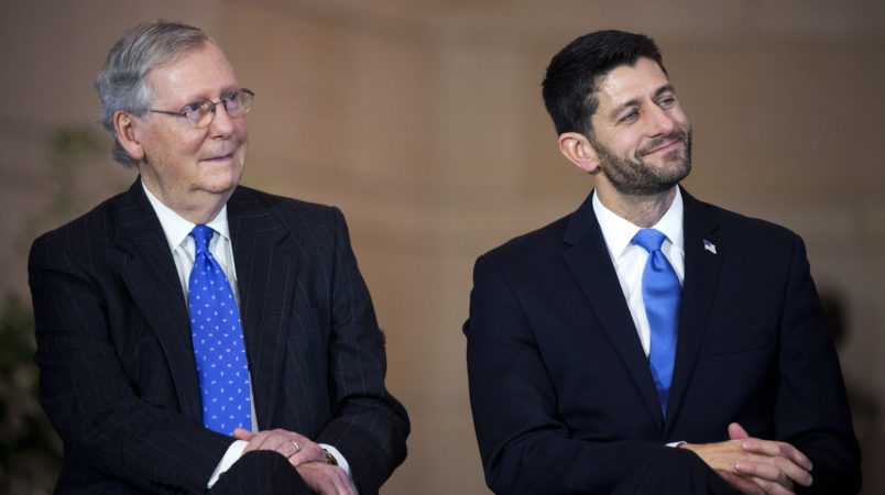 UNITED STATES - DECEMBER 03: Senate Majority Leader Mitch McConnell, R-Ky., left, and Speaker Paul D. Ryan, R-Wis., attend a bust unveiling ceremony for former Vice President Dick Cheney in the Capitol Visitor Center's Emancipation Hall, December 3, 2015. (Photo By Tom Williams/CQ Roll Call)