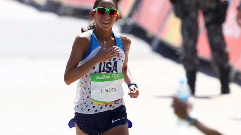 during the Women's Marathon on Day 9 of the Rio 2016 Olympic Games at the Sambodromo on August 14, 2016 in Rio de Janeiro, Brazil.