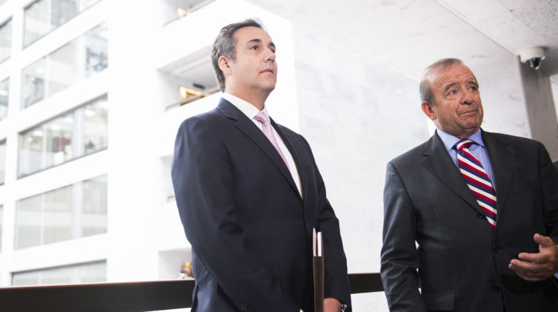 UNITED STATES - SEPTEMBER 19: Michael Cohen, left, a personal attorney for President Trump, and his lawyer Stephen Ryan, address the media in Hart Building after the Senate Intelligence Committee meeting to discuss Russian interference in the 2016 election was postponed on September 19, 2017. (Photo By Tom Williams/CQ Roll Call)