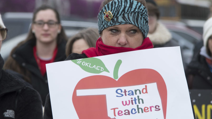 OKLAHOMA CITY, OK - APRIL 2: Oklahoma teachers rally at the state capitol in Oklahoma City, Oklahoma on April 2, 2018. Thousands of teachers and supporters are scheduled to rally Monday at the state Capitol as Oklahoma becomes the latest state to be plagued by teacher strife. Teachers are walking off the job after a $6,100 pay raise was rushed through the Legislature and signed into law by Gov. Mary Fallin. (Photo by J Pat Carter/Getty Images)