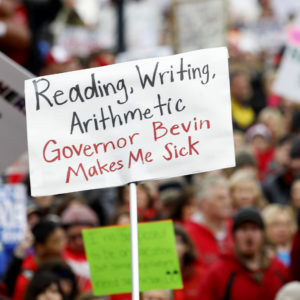 FRANKFORT, KY-APRIL 2: Thousands of public school teachers and their supporters protest against a pension reform bill at the Kentucky State Capital April 2, 2018 in Frankfort, Kentucky. The teachers are calling for higher wages and are demanding that Kentucky Gov. Matt Bevin veto a bill that overhauls their pension plan. (Bill Pugliano/Getty Images)