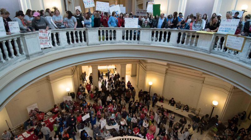 Oklahoma teachers rally at capitol as walkout enters 7th day