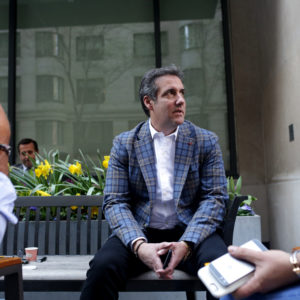 NEW YORK, NY - APRIL 13: Michael Cohen, President Donald Trump's attorney, chats with friends near the Loews Regency hotel on Park Ave on April 13, 2018 in New York City. Following FBI raids on his home, office and hotel room, the Department of Justice announced that they are placing him under criminal investigation. (Photo by Yana Paskova/Getty Images)