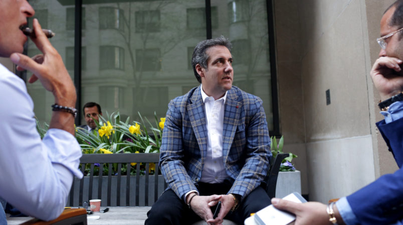 NEW YORK NY- APRIL 13 Michael Cohen President Donald Trump's attorney chats with friends near the Loews Regency hotel on Park Ave