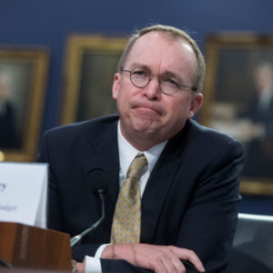 UNITED STATES - APRIL 18: Office of Management and Budget Director Mick Mulvaney testifies before a House Appropriations Financial Services and General Government Subcommittee hearing in Rayburn Building on FY2019 Budget for OMB on April 18, 2018. (Photo By Tom Williams/CQ Roll Call)