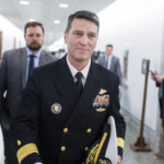 UNITED STATES - APRIL 24: Rear Adm. Ronny Jackson, nominee for Veterans Affairs secretary, leaves Dirsken Building after a meeting on Capitol Hill with Sen. Jerry Moran, R-Kan., on April 24, 2018. (Photo By Tom Williams/CQ Roll Call)