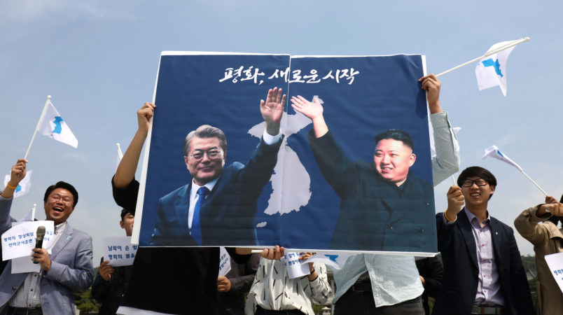 on April 26, 2018 in Seoul, South Korea. The summit between South Korean President Moon Jae-in and North Korea's leader Kim Jong-un is scheduled on April 27, 2018 at the Joint Security Area in Panmunjom.