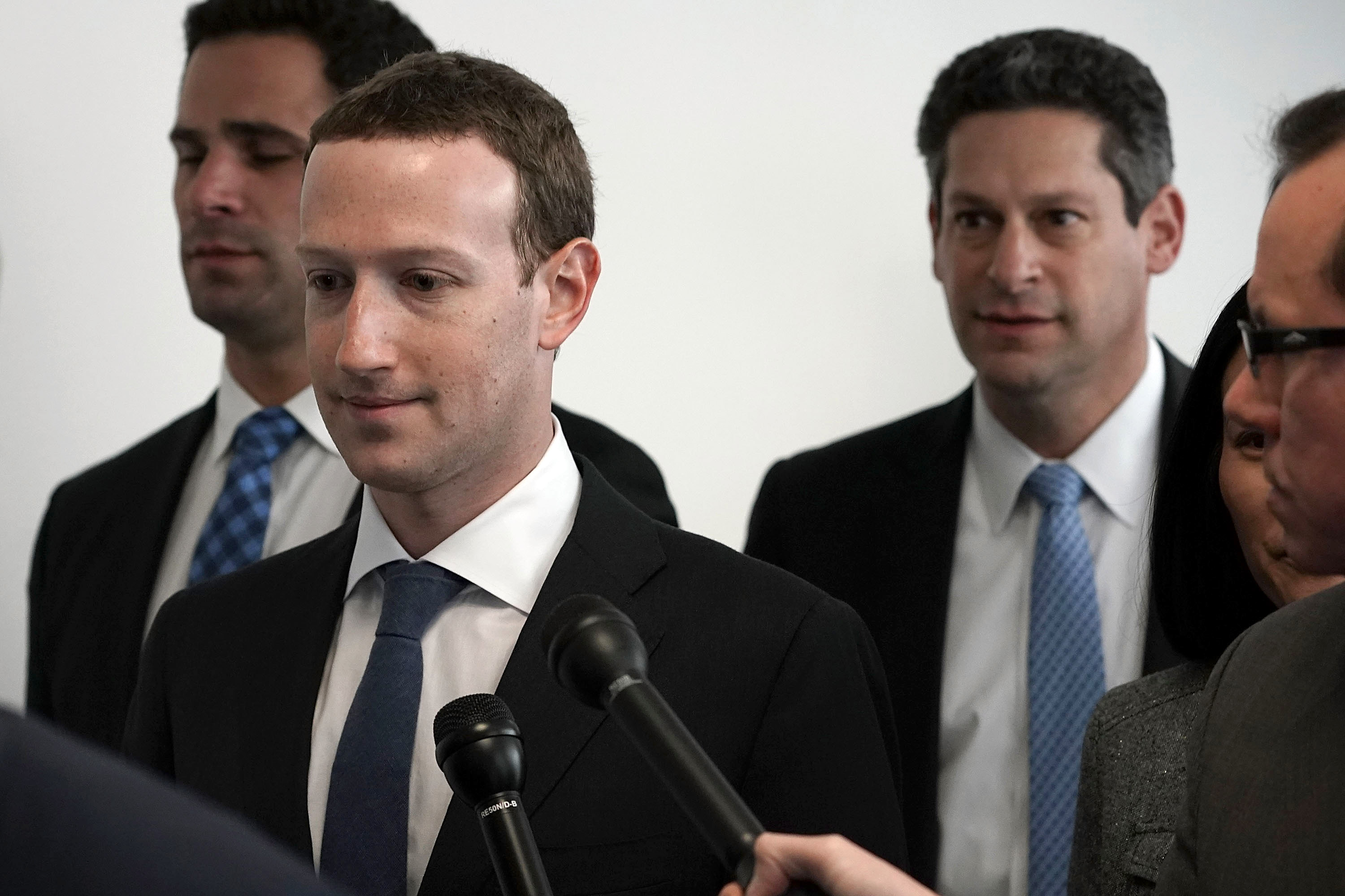 WASHINGTON, DC - APRIL 09:  Facebook CEO Mark Zuckerberg (2nd L) arrives at a meeting with U.S. Sen. Bill Nelson (D-FL), ranking member of the Senate Committee on Commerce, Science, and Transportation, April 9, 2018 on Capitol Hill in Washington, DC. Zuckerberg is scheduled to testify before a few Congressional committees this week on the mass usersÕ data Facebook has shared with political operatives.  (Photo by Alex Wong/Getty Images)