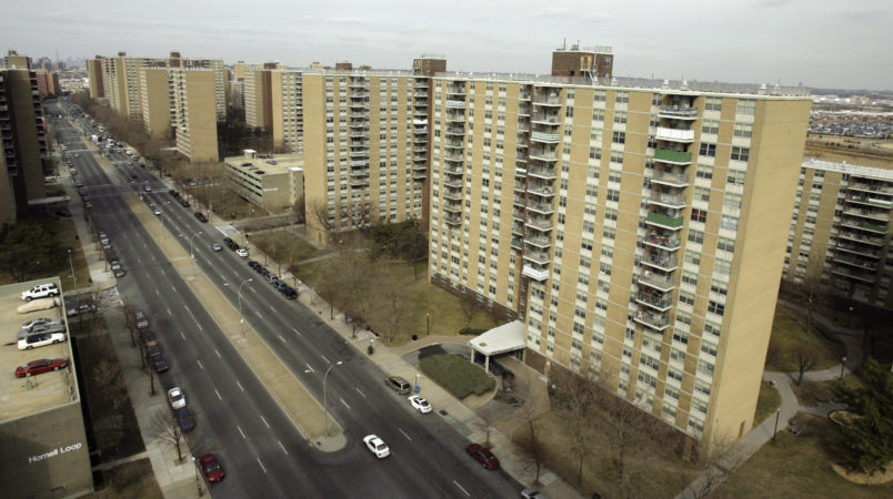 FILE - This Feb.12, 2007 file photo shows Spring Creek Towers apartment buildings, popularly known as Starrett City, in the Brooklyn borough of New York. President Donald Trump and other investors in Starrett City have sold the 46-building complex to two real estate firms for $906 million, according to a statement Tuesday, May 8, 2018, from the new owners. Trump's financial disclosure documents last year show he owned 4 percent of the complex, giving him proceeds from the sale of about $36 million. (AP Photo/Kathy Willens, File)