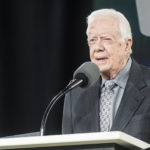 Former President Jimmy Carter speaks at the 45th Liberty University Commencement at Williams Stadium on Saturday May 19, 2018, in Lynchburg, Va. Photo by Lathan Goumas.