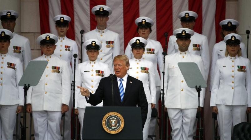 President Donald Trump speaks at the Memorial Amphitheater in Arlington National Cemetery on Memorial Day, Monday, May 28, 2018 in Arlington, Va.(AP Photo/Alex Brandon)