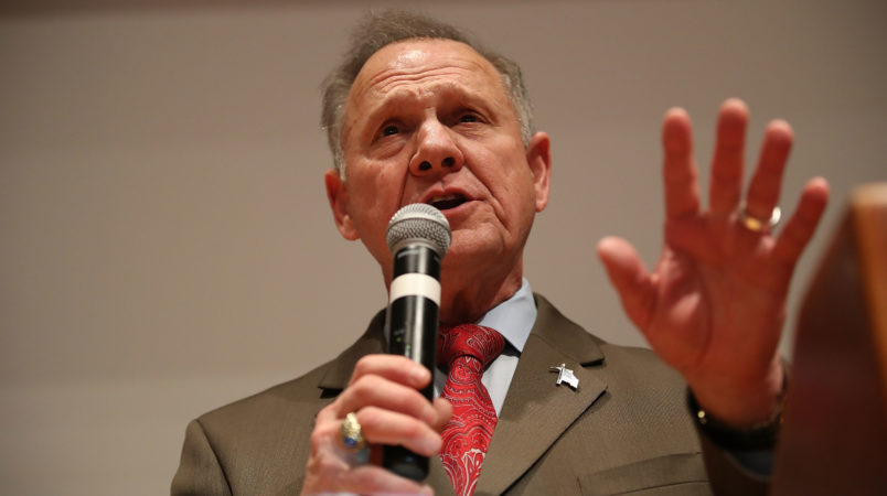 Republican Senatorial candidate Roy Moore concedes defeat against his Democratic opponent Doug Jones at his election night party in the RSA Activity Center on December 12, 2017 in Montgomery, Alabama. Mr. Moore lost the special election to replace Attorney General Jeff Sessions in the U.S. Senate.