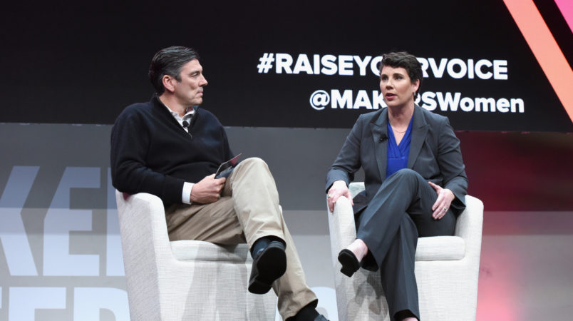 speaks onstage during The 2018 MAKERS Conference at NeueHouse Hollywood on February 6, 2018 in Los Angeles, California.