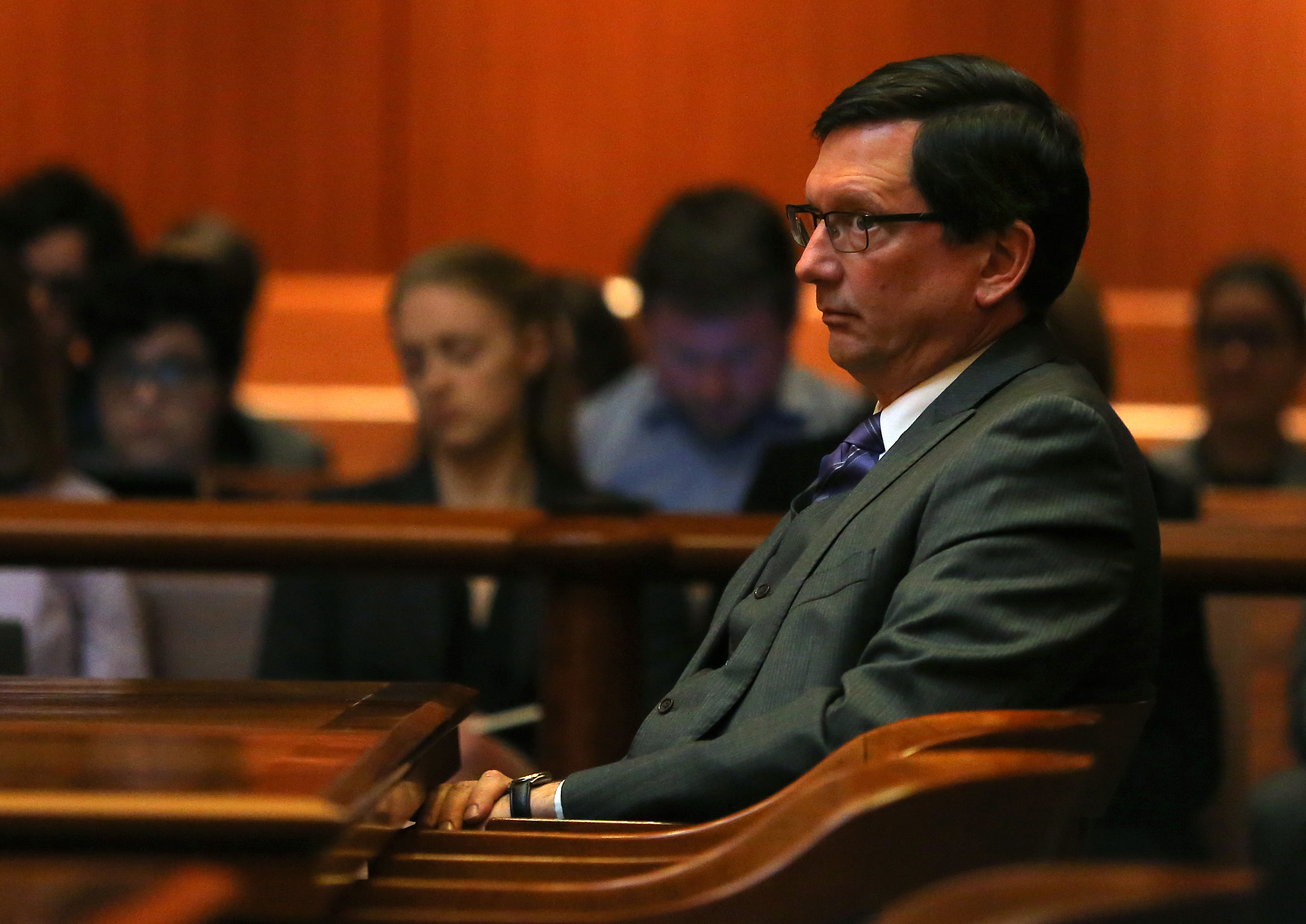 Boston, MA - 4/24/18 - Judge Thomas Estes (cq) listens as his attorney addresses the court.In the case of Estes, arguments are made in front of the full court (cq) (5 justices) of the Supreme Judicial Court (cq), in the John Adams Courthouse (cq). Arguing for the the Committee on Judicial Conduct (cq) is attorney Howard Neff (cq). For Estes is David Hoose (cq). Also in court is former court worker Tammy Cagle (cq), with whom Estes admits to having an affair. He attorney is Leonard Kesten (cq).Photo by Pat Greenhouse/Globe StaffTopic: 25estesReporter: Maria Cramer