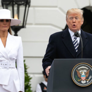 (L-R): U.S. First Lady Melania Trump listens as U.S. President Donald Trump speaks at the arrival ceremony for President Macron on the South Lawn of the White House in Washington, D.C., on Tuesday, April 24, 2018. (Photo by Cheriss May) (Photo by Cheriss May/NurPhoto)