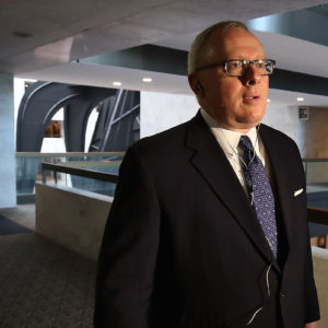 WASHINGTON, DC - MAY 01:  Former Trump campaign official Michael Caputo arrives at the Hart Senate Office building to be interviewed by Senate Intelligence Committee staffers, on May 1, 2018 in Washington, DC. The committee is investigating alleged Russian interference in the 2016 U.S. presidential election.  (Photo by Mark Wilson/Getty Images)