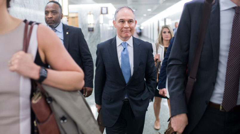 UNITED STATES - MAY 16: Environmental Protection Agency Administrator Scott Pruitt arrives to testify during a Senate Appropriations Interior, Environment, and Related Agencies Subcommittee hearing in Dirksen Building on the proposed FY2019 budget for the EPA on May 16, 2018. (Photo By Tom Williams/CQ Roll Call)