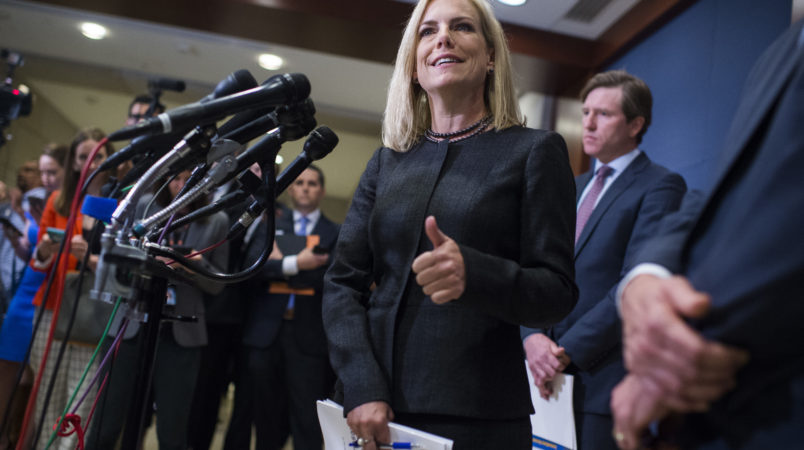 UNITED STATES- MAY 22 Homeland Security Secretary Kirstjen Nielsen and Rep. Michael McCaul R-Texas chairman of the House Homeland Security Committee off camera address the media after briefing on election security with House members in the Capitol
