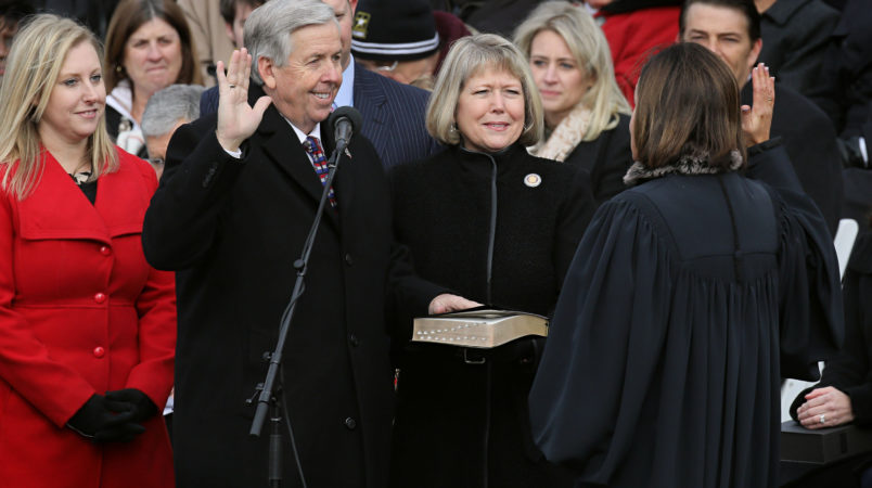 Mike Parson is sworn in as Missouri Lieutenant Governor during inauguration ceremonies in Jefferson City, Mo., on January 9, 2017. Parson will take over for Gov. Eric Greitens, who resigned on Tuesday, May 29, 2018. (David Carson/St. Louis Post-Dispatch/TNS)