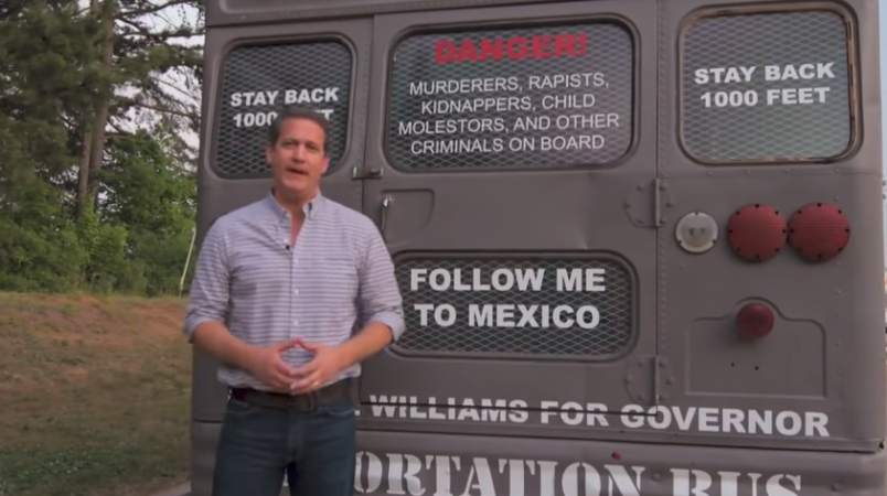 GOP candidate campains with deportation bus