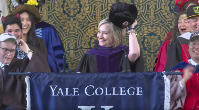 Hillary Clinton Pulls Out 'Russian Hat' To Jab Trump During Yale Speech
