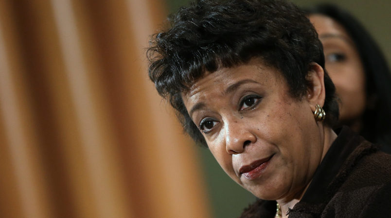 WASHINGTON, DC - DECEMBER 07:  U.S. Attorney General Loretta Lynch answers questions during a press conference at the Department of Justice December 7, 2015 in Washington, DC. Lynch announced a Justice Department investigation into the practices of the Chicago Police Department during the press conference.  (Photo by Win McNamee/Getty Images)