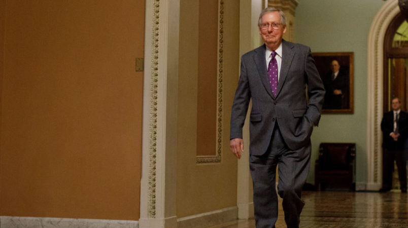 WASHINGTON D.C., Feb. 9, 2018 -- U.S. Senate Majority Leader Mitch McConnel walks out the Senate Chamber on Capitol Hill in Washington D.C., the United States, on Feb. 8, 2018. The U.S. government is shutting down at midnight as the Senate went into recess and missed a midnight deadline to pass a short-term funding bill. (Xinhua/Ting Shen)