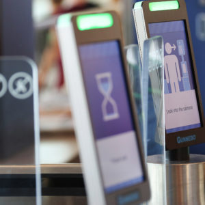 A biometric facial recognition screening machine in a British Airways international gate on Tuesday, April 24, 2018 at the Orlando International Airport. (Ricardo Ramirez Buxeda/Orlando Sentinel/TNS)