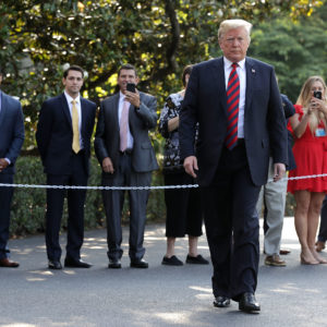 U.S. President Donald Trump departs the White House June 8, 2018 in Washington, DC. Trump is traveling to Canada to attend the G7 summit before heading to Singapore on Saturday for a planned U.S.-North Korea summit.